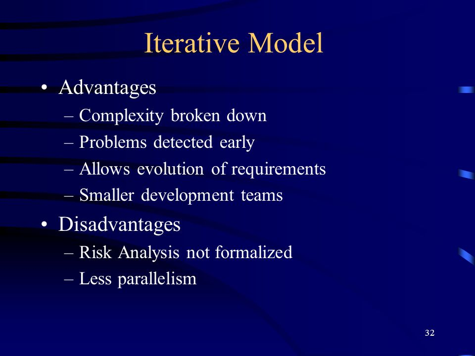 32 Iterative Model Advantages –Complexity broken down –Problems detected early –Allows evolution of requirements –Smaller development teams Disadvanta