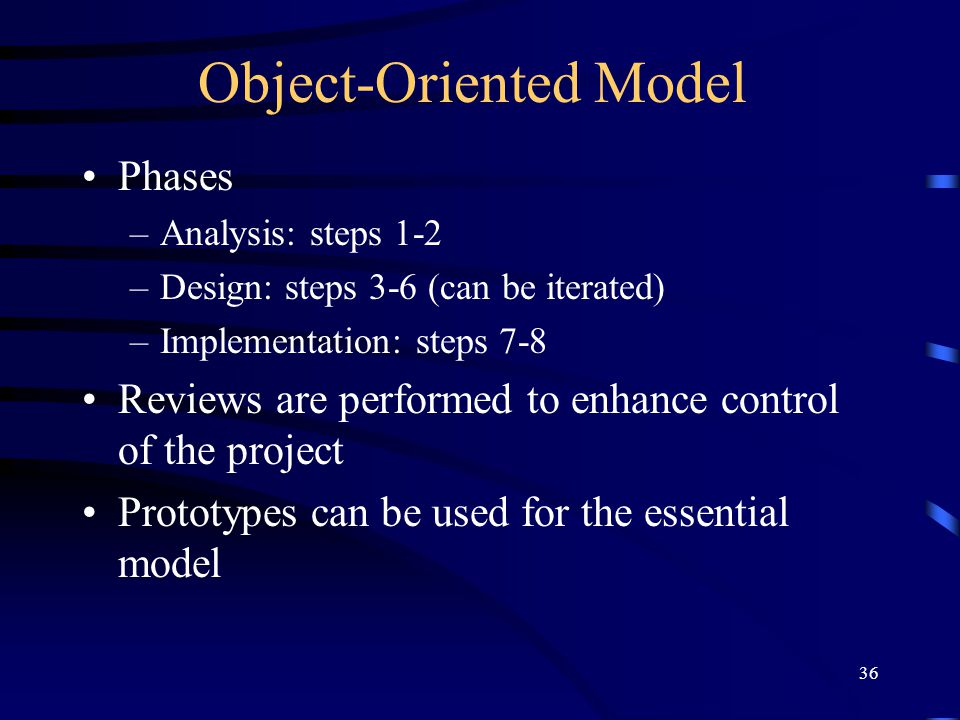 36 Object-Oriented Model Phases –Analysis: steps 1-2 –Design: steps 3-6 (can be iterated) –Implementation: steps 7-8 Reviews are performed to enhance