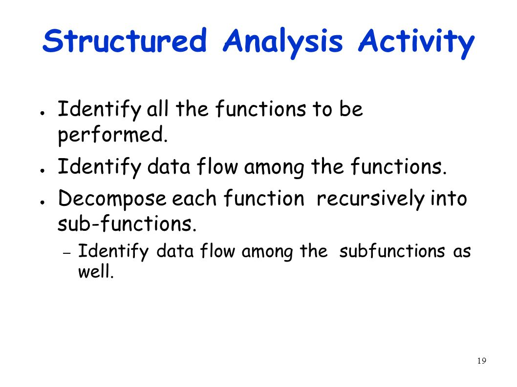 19 Structured Analysis Activity ● Identify all the functions to be performed.