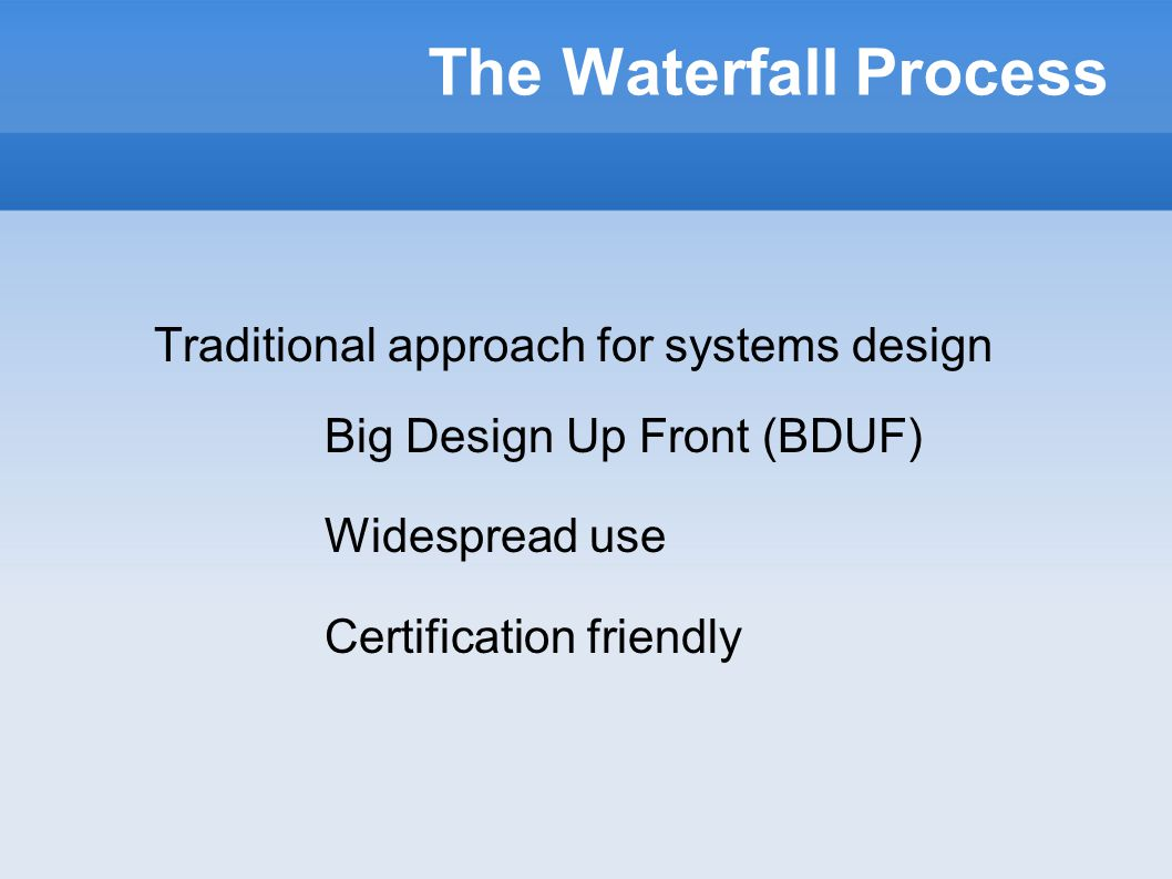 Scrum in a waterfall thilo fromm dresearch gmbh ppt download 5 the waterfall process traditional approach for systems design big design up front bduf widespread use certification friendly malvernweather