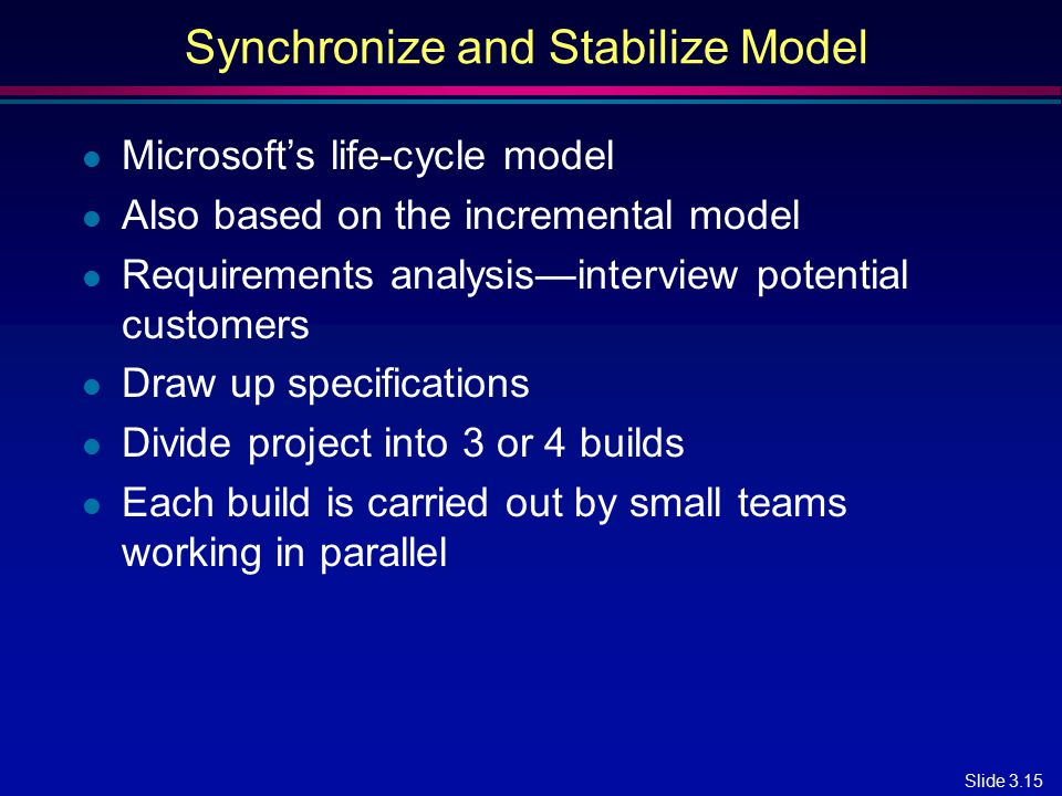Slide 3.15 Synchronize and Stabilize Model l Microsoft's life-cycle model l Also based on the incremental model l Requirements analysis—interview pote