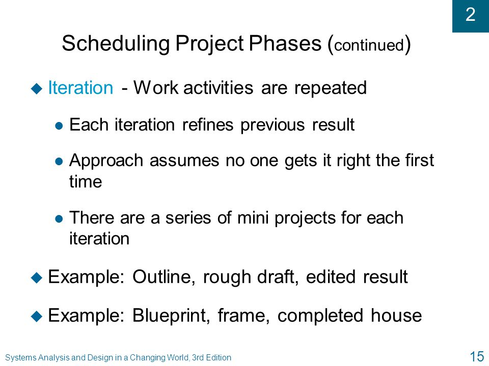 2 Systems Analysis and Design in a Changing World, 3rd Edition 15 Scheduling Project Phases ( continued ) u Iteration - Work activities are repeated l