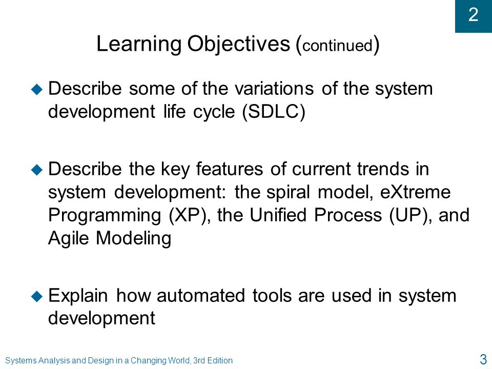 2 Systems Analysis and Design in a Changing World, 3rd Edition 3 Learning Objectives ( continued ) u Describe some of the variations of the system dev