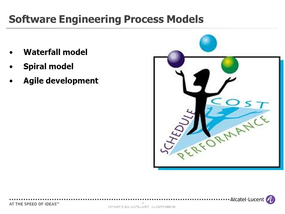 COPYRIGHT © 2012 ALCATEL-LUCENT. ALL RIGHTS RESERVED. 3 Software Engineering Process Models Waterfall model Spiral model Agile development