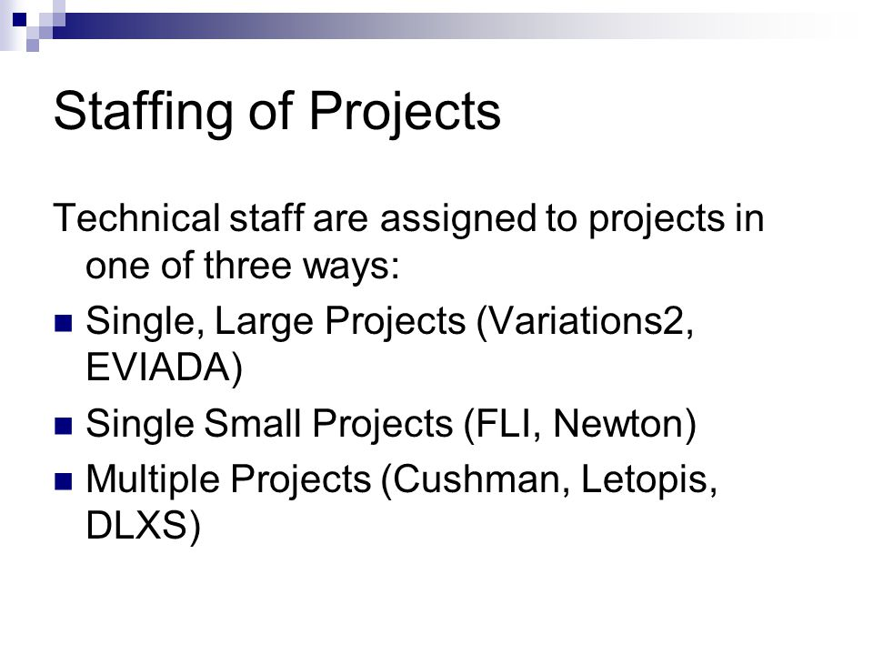 Staffing of Projects Technical staff are assigned to projects in one of three ways: Single, Large Projects (Variations2, EVIADA) Single Small Projects (FLI, Newton) Multiple Projects (Cushman, Letopis, DLXS)