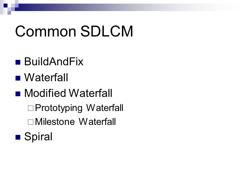 Common SDLCM BuildAndFix Waterfall Modified Waterfall  Prototyping Waterfall  Milestone Waterfall Spiral
