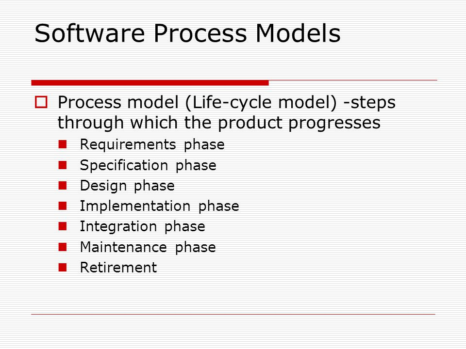 Synchronize-and-Stabilize Model (contd.)  At the end of the day —synchronize (put together partially completed components; test and debug)  At the end of the build —stabilize (fix the remaining faults; freeze build)  Advantages Components always work together Early insights into operation of product Model can be used even the initial specification is incomplete