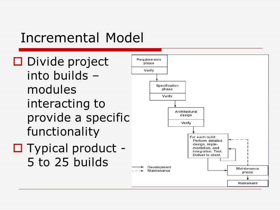 Incremental Model  Divide project into builds – modules interacting to provide a specific functionality  Typical product - 5 to 25 builds