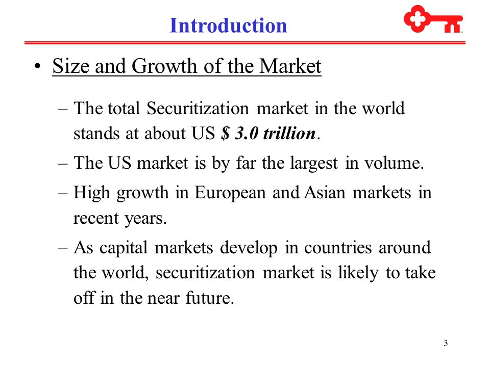 3 Introduction Size and Growth of the Market –The total Securitization market in the world stands at about US $ 3.0 trillion.