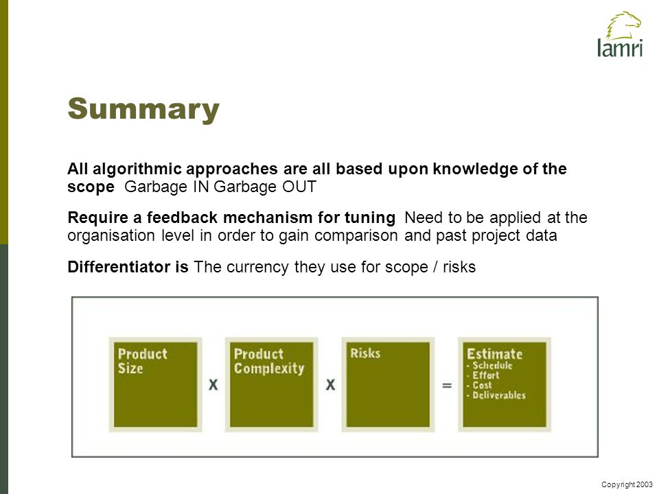 Copyright 2003 Summary All algorithmic approaches are all based upon knowledge of the scope Garbage IN Garbage OUT Require a feedback mechanism for tuning Need to be applied at the organisation level in order to gain comparison and past project data Differentiator is The currency they use for scope / risks