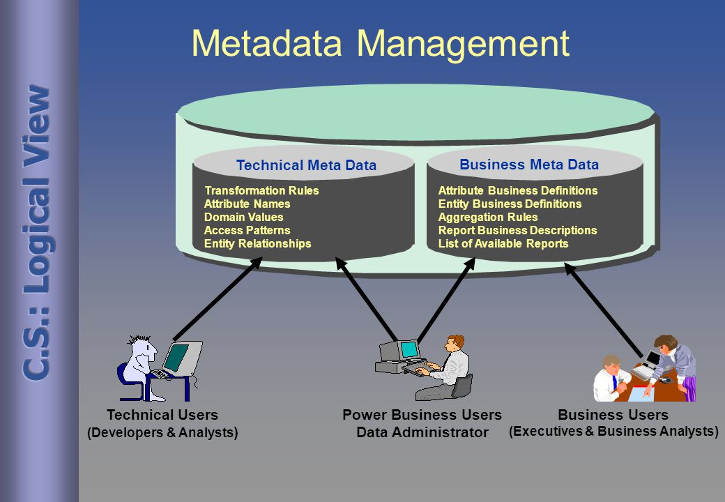 Metadata Management Business Meta Data Technical Meta Data Technical Users (Developers & Analysts ) Business Users (Executives & Business Analysts) Transformation Rules Attribute Names Domain Values Access Patterns Entity Relationships Attribute Business Definitions Entity Business Definitions Aggregation Rules Report Business Descriptions List of Available Reports Power Business Users Data Administrator