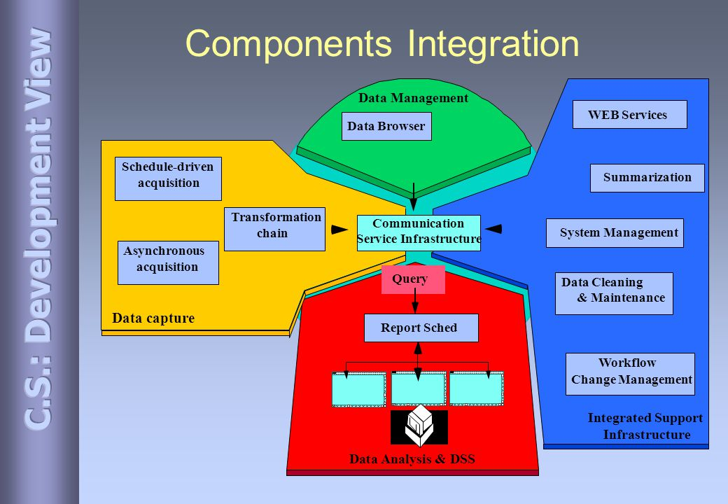 Components Integration Data Analysis & DSS Data capture Integrated Support Infrastructure Summarization Data Cleaning & Maintenance Communication Service Infrastructure Query Data Management Schedule-driven acquisition Transformation chain Asynchronous acquisition Data Browser Workflow Change Management Report Sched WEB Services System Management