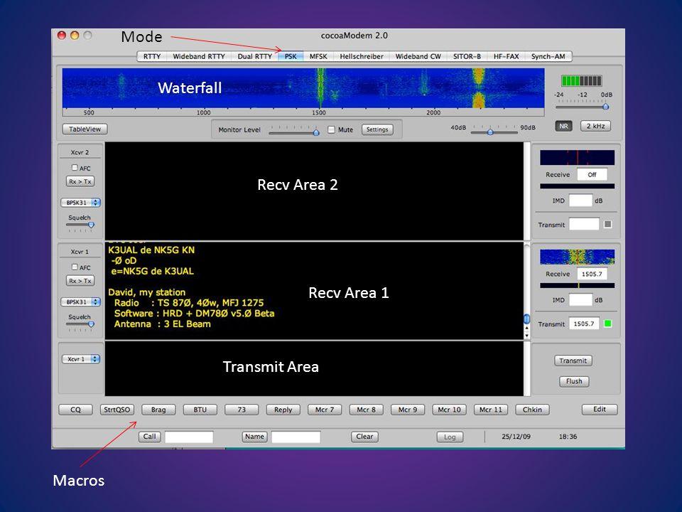 Recv Area 2 Recv Area 1 Transmit Area Waterfall Macros Mode