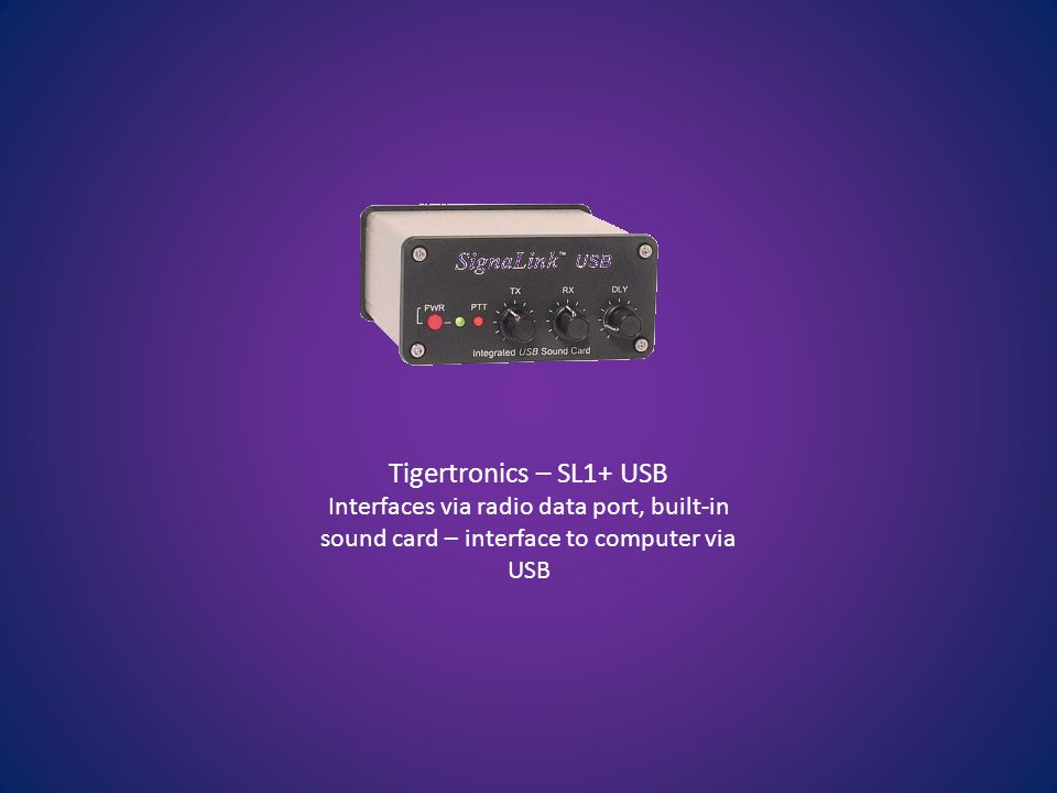 Tigertronics – SL1+ USB Interfaces via radio data port, built-in sound card – interface to computer via USB