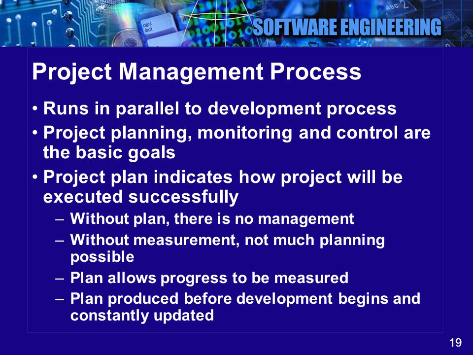 19 Project Management Process Runs in parallel to development process Project planning, monitoring and control are the basic goals Project plan indica