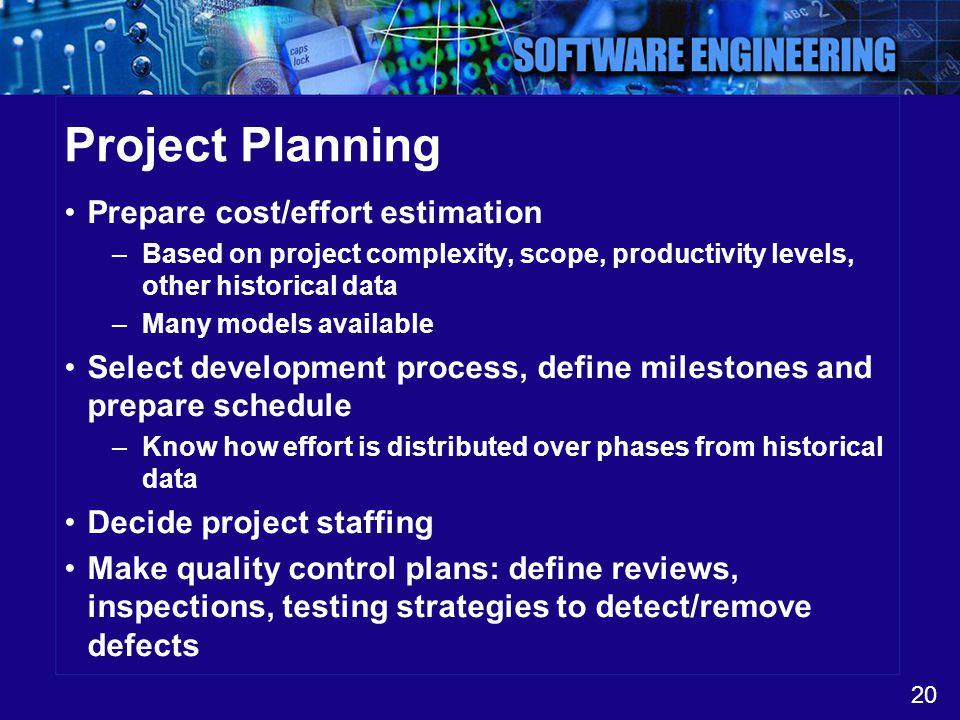 20 Project Planning Prepare cost/effort estimation –Based on project complexity, scope, productivity levels, other historical data –Many models availa