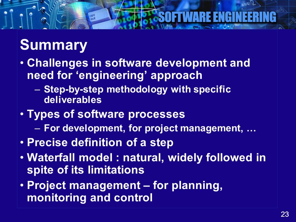 23 Summary Challenges in software development and need for 'engineering' approach –Step-by-step methodology with specific deliverables Types of softwa