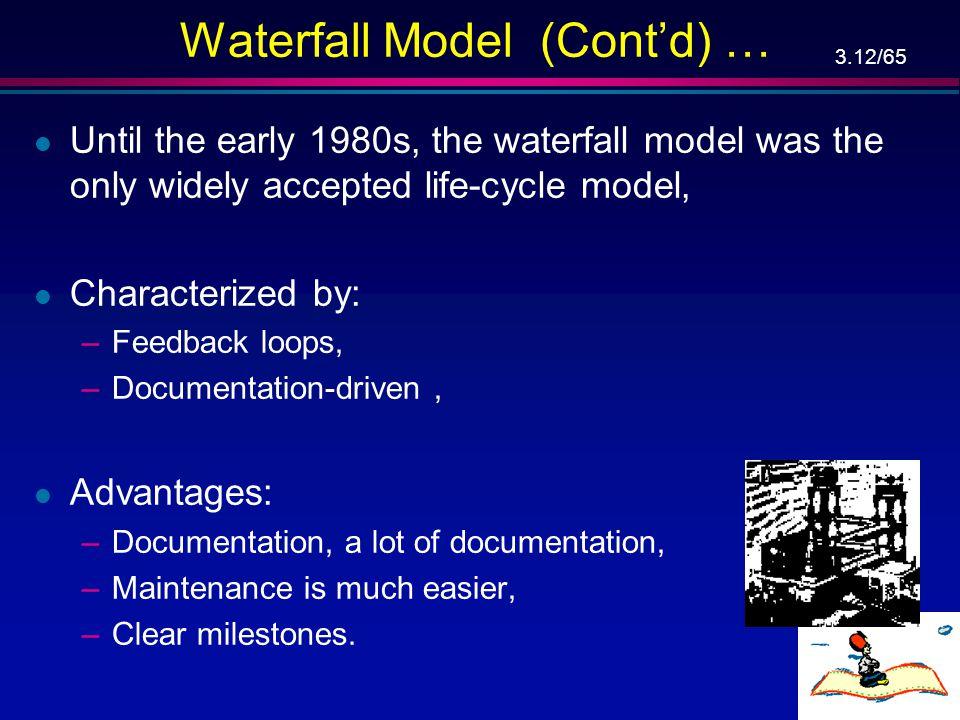 3.11/65 Waterfall Model – מודל מפל המים … הפעלה מבצעית פרישה אימות דרישות אימות אפיון אימות תכן אימות מימוש אישור שילוב אימות שינוי בדרישות פיתוח אחזק