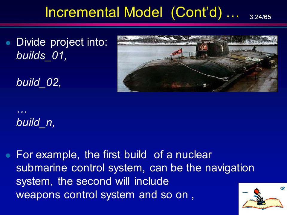 3.23/65 Incremental Model – מודל הדרגתי א' … פיתוח אחזקה הפעלה מבצעית פרישה מימוש הקמת מבנה (build) 1,2,...,n תכן מפורט מימוש שילוב בדיקות מסירה אימות