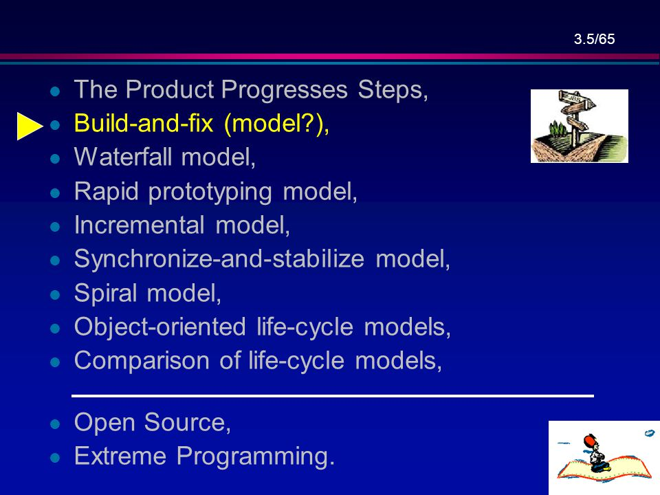 3.5/65 l The Product Progresses Steps, l Build-and-fix (model?), l Waterfall model, l Rapid prototyping model, l Incremental model, l Synchronize-and-stabilize model, l Spiral model, l Object-oriented life-cycle models, l Comparison of life-cycle models, l Open Source, l Extreme Programming.