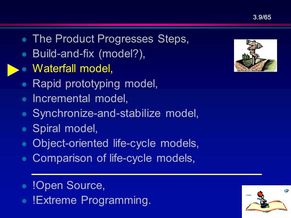 3.39/65 Spiral Model – מודל הספירלה … תכנוןplanning ניתוח סיכונים risk analysis הנדסהengineering הערכת לקוח customer evaluation תוצרים