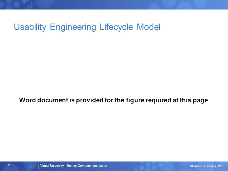 Virtual University - Human Computer Interaction 23 © Imran Hussain | UMT Usability Engineering Lifecycle Model Word document is provided for the figure required at this page