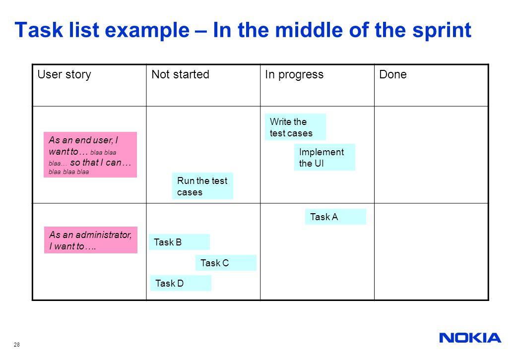 28 Task list example – In the middle of the sprint User storyNot startedIn progressDone As an end user, I want to… blaa blaa blaa… so that I can… blaa