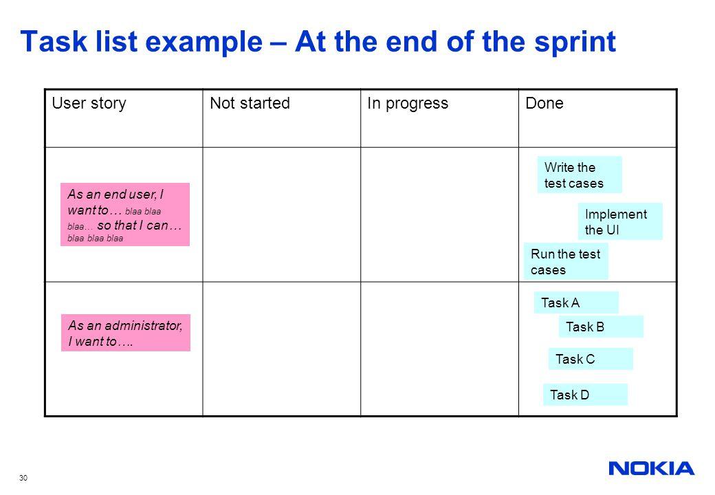 30 Task list example – At the end of the sprint User storyNot startedIn progressDone As an end user, I want to… blaa blaa blaa… so that I can… blaa bl