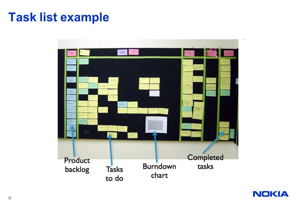 32 Task list example