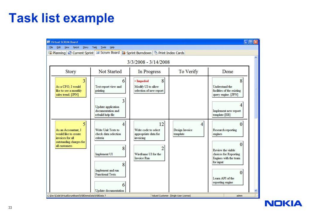 33 Task list example