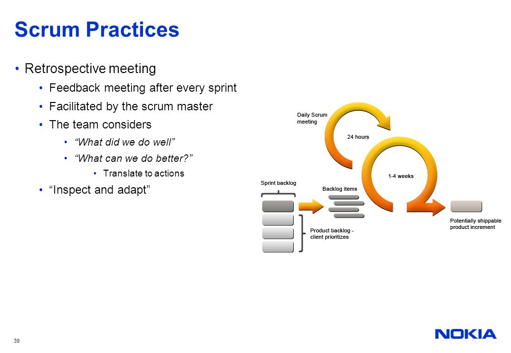 """39 Scrum Practices Retrospective meeting Feedback meeting after every sprint Facilitated by the scrum master The team considers """"What did we do well"""""""