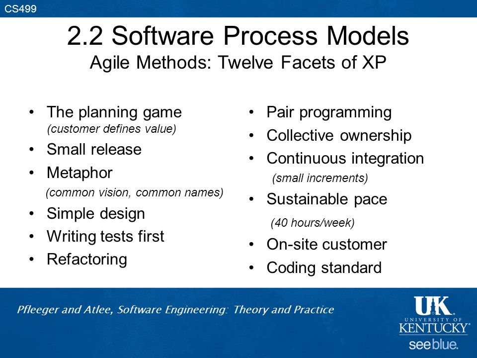 Pfleeger and Atlee, Software Engineering: Theory and Practice CS499 2.2 Software Process Models Agile Methods: Twelve Facets of XP The planning game (