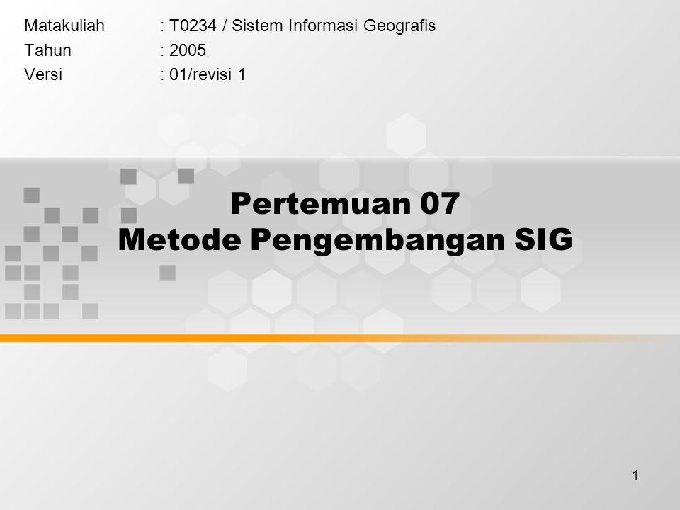 1 Pertemuan 07 Metode Pengembangan SIG Matakuliah: T0234 / Sistem Informasi Geografis Tahun: 2005 Versi: 01/revisi 1
