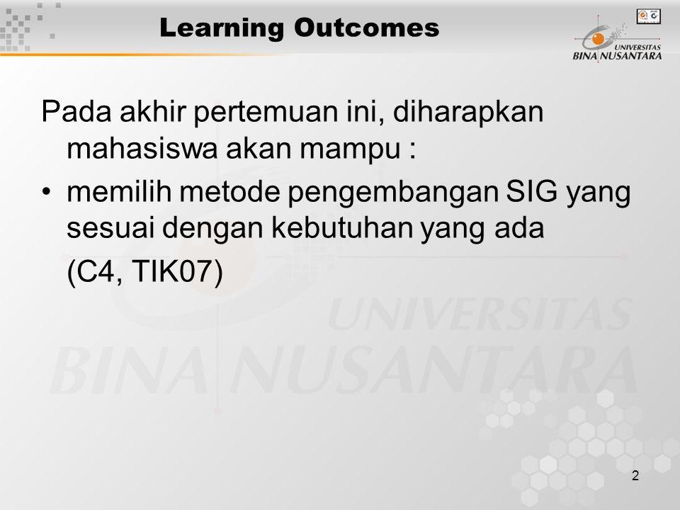 2 Learning Outcomes Pada akhir pertemuan ini, diharapkan mahasiswa akan mampu : memilih metode pengembangan SIG yang sesuai dengan kebutuhan yang ada (C4, TIK07)