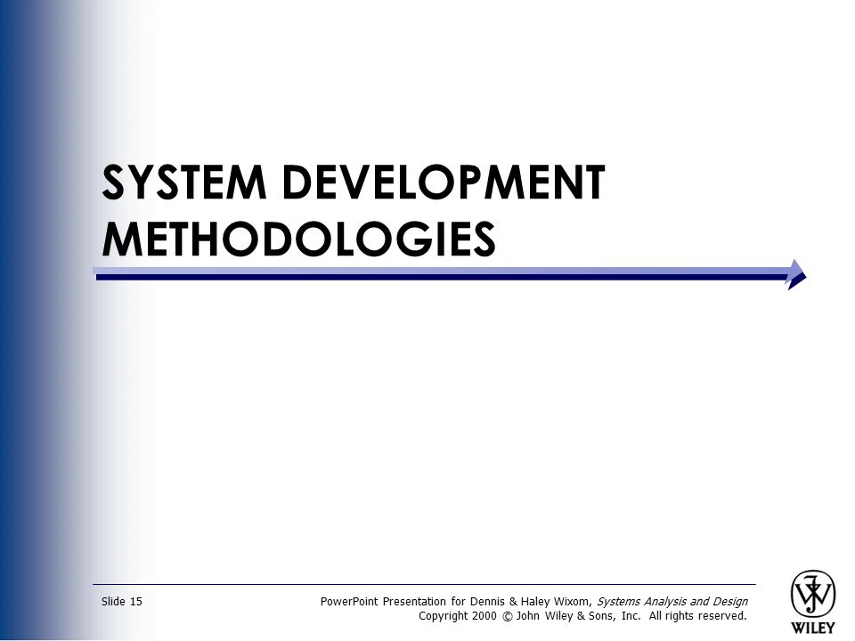 PowerPoint Presentation for Dennis & Haley Wixom, Systems Analysis and Design Copyright 2000 © John Wiley & Sons, Inc. All rights reserved. Slide 15 S