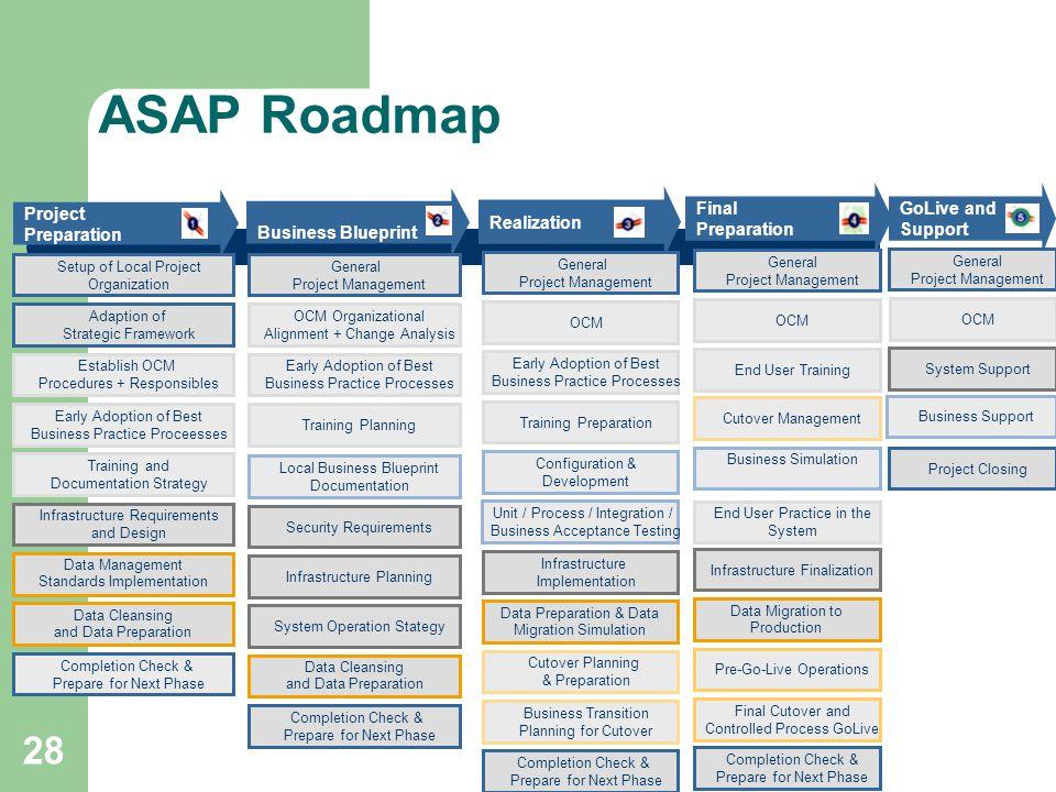 28 ASAP Roadmap Final Preparation Project Preparation Business Blueprint Realization Setup of Local Project Organization Adaption of Strategic Framewo