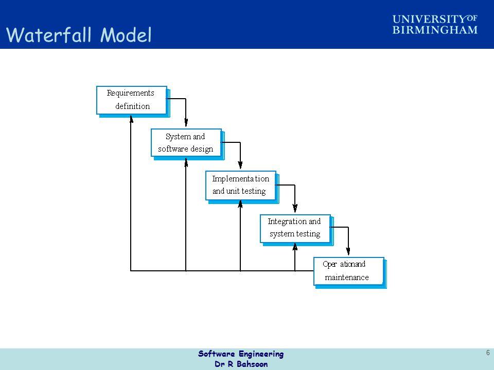 Software Engineering Dr R Bahsoon 6 Waterfall Model