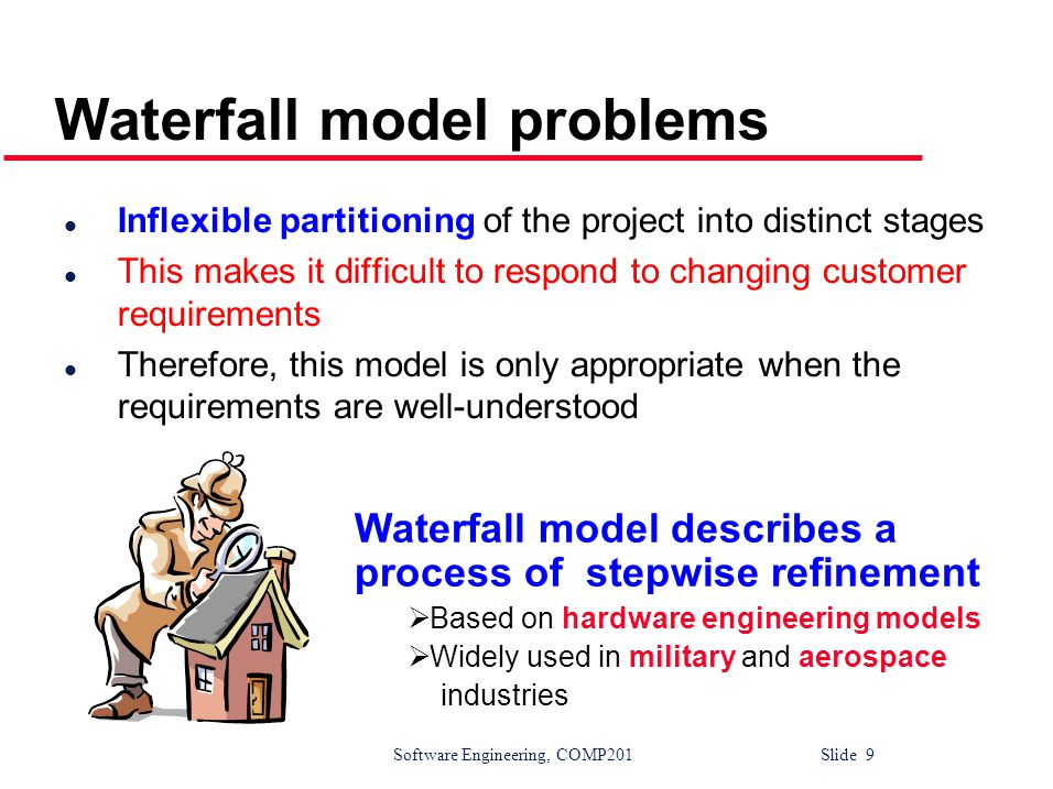 Software Engineering, COMP201 Slide 10 Why Not a Waterfall But software is different :  No fabrication step  Program code is another design level  Hence, no commit step – software can always be changed….