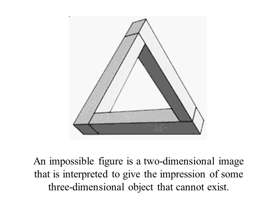 An impossible figure is a two-dimensional image that is interpreted to give the impression of some three-dimensional object that cannot exist.