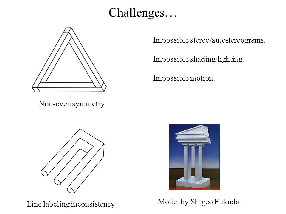 Challenges… Model by Shigeo Fukuda Non-even symmetry Line labeling inconsistency Impossible stereo/autostereograms. Impossible shading/lighting. Impos
