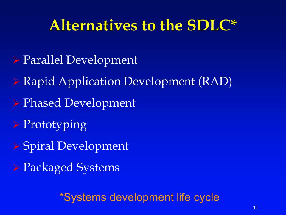 11 Alternatives to the SDLC*  Parallel Development  Rapid Application Development (RAD)  Phased Development  Prototyping  Spiral Development  Packaged Systems *Systems development life cycle