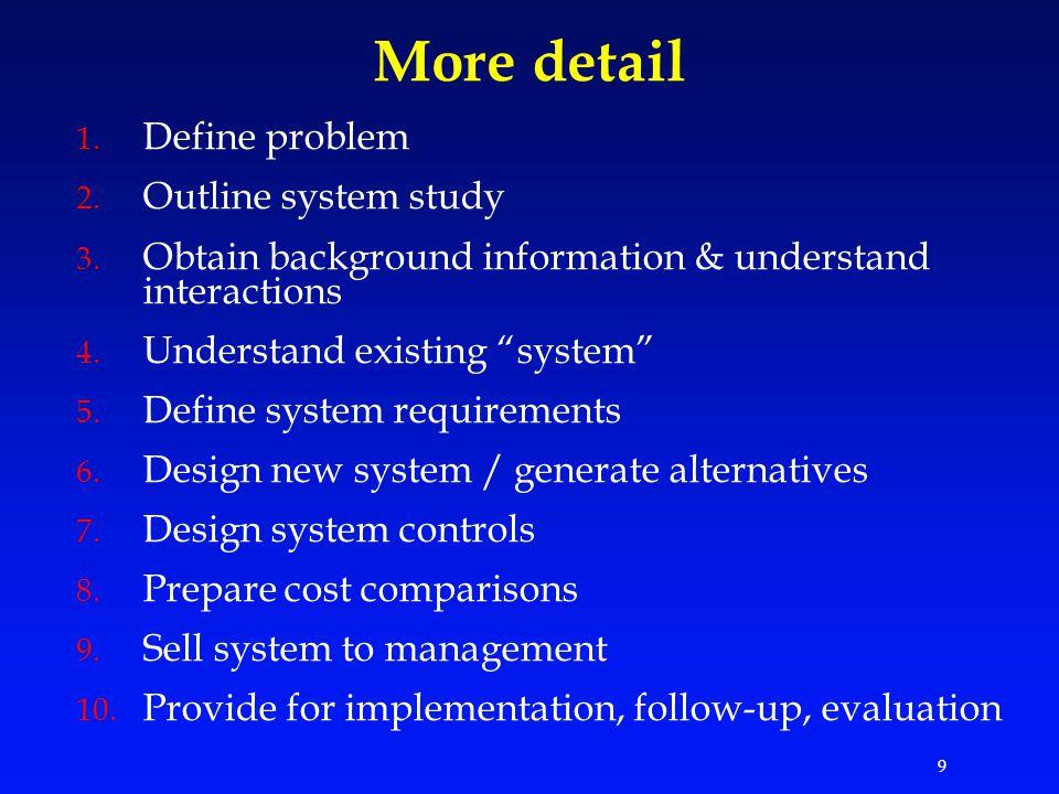 9 More detail 1. Define problem 2. Outline system study 3.
