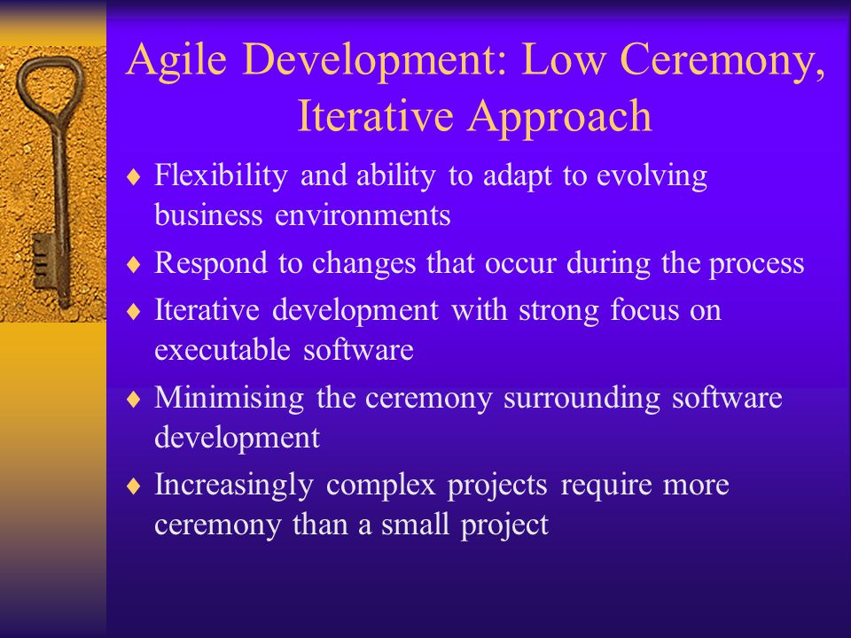 Agile Development: Low Ceremony, Iterative Approach  Flexibility and ability to adapt to evolving business environments  Respond to changes that occ