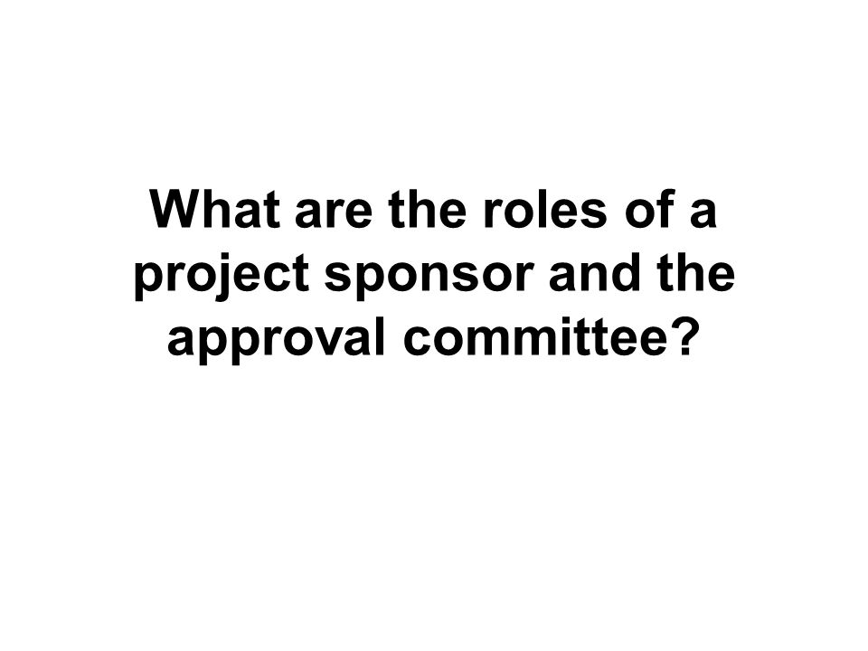 What are the roles of a project sponsor and the approval committee?