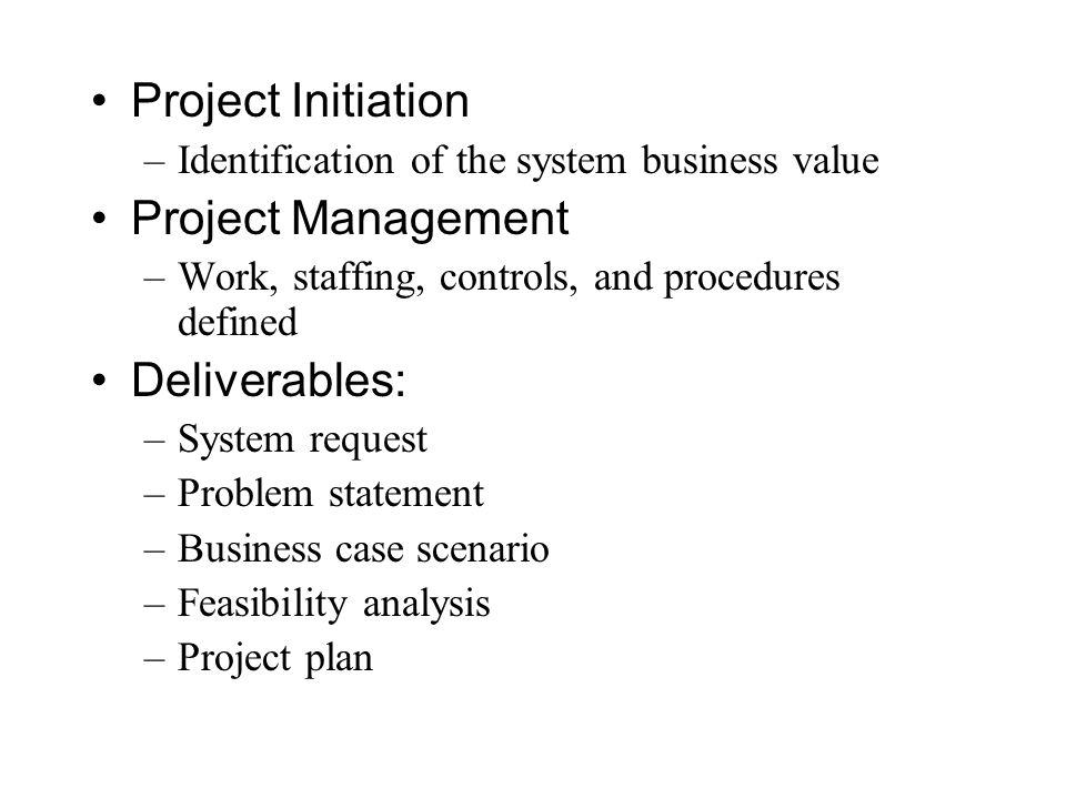 Project Initiation –Identification of the system business value Project Management –Work, staffing, controls, and procedures defined Deliverables: –Sy