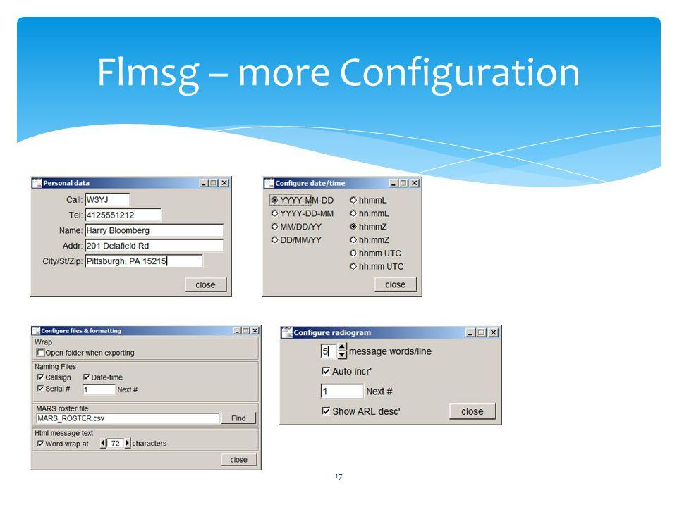 Flmsg – more Configuration 17