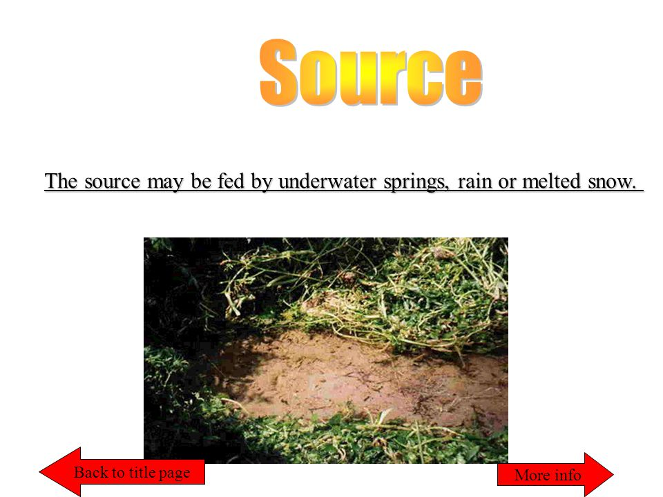The source may be fed by underwater springs, rain or melted snow. Back to title page More info