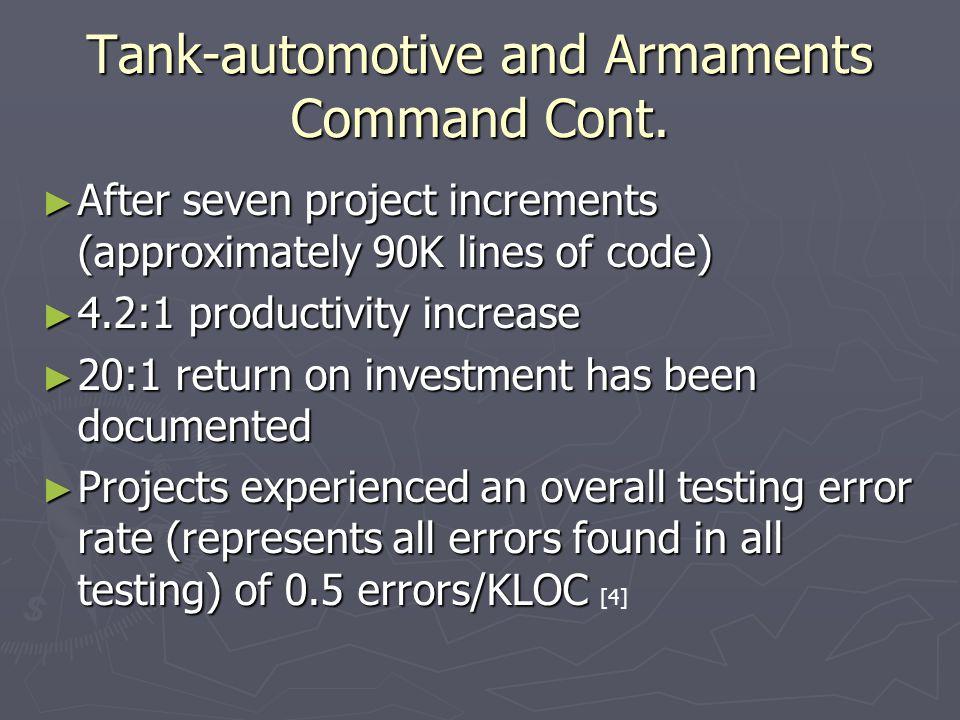 Tank-automotive and Armaments Command Cont.