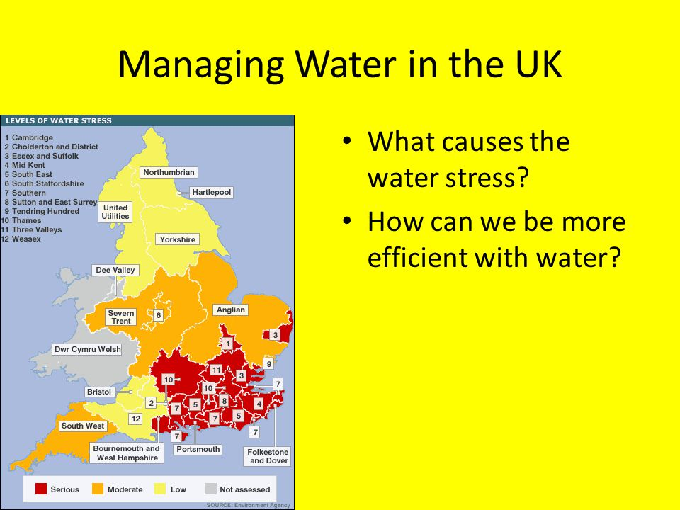 Managing Water in the UK What causes the water stress? How can we be more efficient with water?