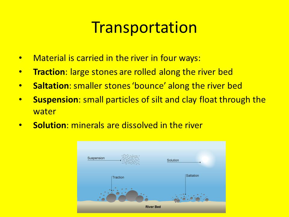 Transportation Material is carried in the river in four ways: Traction: large stones are rolled along the river bed Saltation: smaller stones 'bounce'